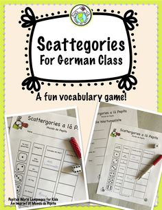 Your German students will have lots of fun with this Scattegories Inspired Vocabulary Game! Pepita's World Languages for Kids, an imprint of Mundo de Pepita Spelling Activities, Teaching Activities, Listening Activities, Teaching Ideas, Vocabulary Strategies, Vocabulary Games, German Resources, Future Classroom, Classroom Ideas
