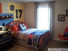 boys room ideas - like the idea of their jersey number on the wall