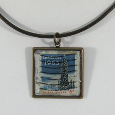 Vintage Christmas 1963 Postage Stamp Pendant Necklace by 12be, $14.50