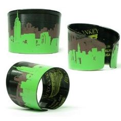 Recycled Vinyl Record Cityscape Cuff Bracelet by evangeline