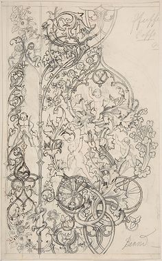 Gothic Ornament with Putti and Acanthus Leaves  Attributed to Bernd  (German (?))