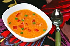 Creamy corn and red pepper soup