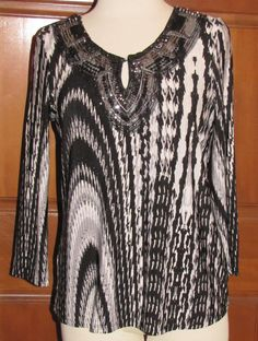 7 WONDERS black artsy abstract stretch polyester long sleeve blouse M (T2802B7G) #7Wonders #Blouse #Casual