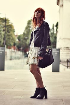biker jacket & floral dress