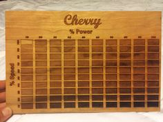 40W Laser Power/Speed chart on unfinished Cherry. I made this at work today :)