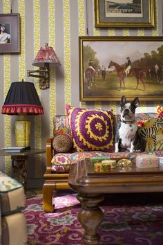 "[i]The patterned sofa in the den is enjoyed by the duo's French bulldog.[/i] Like this? Then you'll love [link url=""http://www.houseandgarden.co.uk/interiors/living-room""]Living Room Ideas[/link]"