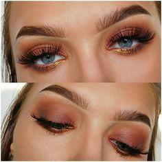 sparkly-pink-brown-smoky-eye make-up - Lilly is Love Eye Makeup Tips, Skin Makeup, Makeup Inspo, Makeup Inspiration, Beauty Makeup, Makeup Products, Makeup Brushes, Makeup Ideas, Makeup Set
