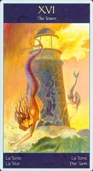 Tarot of Mermaids - The Tower - Mauro de Luca Pietro Alligo -Lo Scarabeo Mermaid Tarot, The Tower Tarot, Wild Bull, Tarot Tattoo, Major Arcana, Oracle Cards, Tarot Decks, Our Lady, Mystic