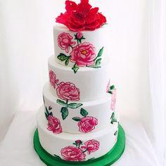 Painted wedding cake. Tarta de boda con rosas pintadas a mano.