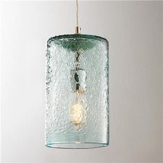 Pebbled Glass Cylinder Pendant-Clear tinted pebbled glass provides texture and interest. Available in Sky Blue, #BeachHouseCoastalDecor