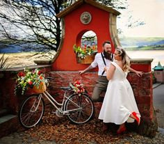 The stunning Portmeirion was the ideal location for this colourful shoot inspired by a bicycle. Sally Smart from Blue Bug Photography explains how they did it. Click the link to view the full photoshoot! Wedding Shoot, Wedding Day, Maroon Wedding, North Wales, Maroon Color, Sally, Cool Style, White Dress, Vintage Fashion