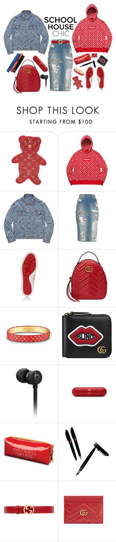 """Studying -n- styling"" by ellenfischerbeauty ❤ liked on Polyvore featuring Louis Vuitton, Christian Louboutin, Gucci, Beats by Dr. Dre, 7 For All Mankind, Happy Jackson and Montblanc"