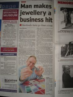 Mangley Jewellery in the Halstead Gazette 18th April 2014