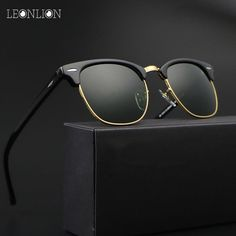 cfd40c3d3 LeonLion 2018 Vintage Rimless Polarized Sunglasses Men/Women UV400