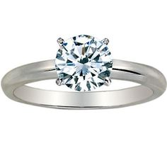 1 1/2 Carat Round Cut Diamond Solitaire Engagement Ring 14K White Gold 4 Prong (J, I2, 1.5 c.t.w)…