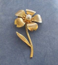 JJ Signed Open Work Goldtone Lady in Faux Pearls and Hat PinBrooch.