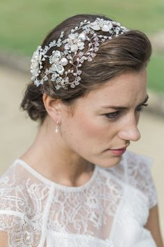 Hermione Harbutt May Blossom Double Headdress | Amy Fanton Photography | #bridal #hairpiece #wedding #accessories