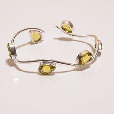 Wonderful Faceted Citrine .925 Silver Handmade Designer bangle Jewelry R1593 #Handmade