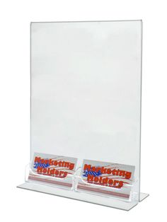Lot of 6 Clear Bottom Load Table Tent with 2 attached Business Card Holders #MarketingHolders