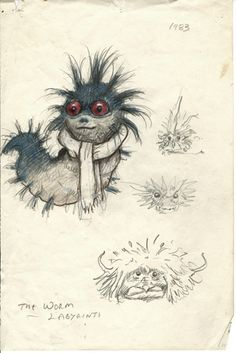 Brian Froud's concept art and sketches for the 1986 movie, Labyrinth. Magical Creatures, Fantasy Creatures, Jim Henson Labyrinth, Labyrinth 1986, Labyrinth Worm, Labyrinth Movie, Concept Art Landscape, Art Tutorial, Brian Froud