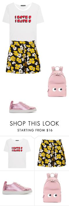 """""""Untitled #17766"""" by explorer-14576312872 ❤ liked on Polyvore featuring AlexaChung, Boohoo, Sophia Webster and Anya Hindmarch"""