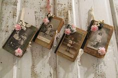 Altered French books wall hanging embellished by AnitaSperoDesign