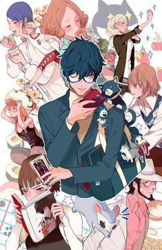 Print of the cast of Persona 5 11 x 17 size 100 lb gloss cover stock Persona 5 Anime, Persona 5 Joker, Persona 4, Ren Amamiya, Shin Megami Tensei Persona, Akira Kurusu, Game Art, Anime Characters, Animation