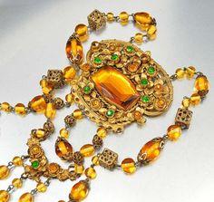 Vintage Czech Art Deco Necklace Amber Glass Emerald Rhinestone Gold Gilt Long