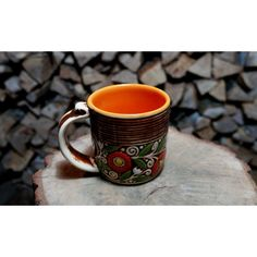 Gift for mother Ceramic coffee mug Brown tea cup Father mug Office... ($20) ❤ liked on Polyvore featuring men's fashion