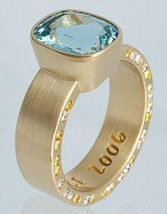 Unique contemporary custom-made jewelry designed and handmade by Eva Martin Aqua Marine, Stylish Jewelry, Birthstones, Gemstone Rings, Jewelry Design, Yellow Diamonds, Gemstones, Earrings, Gold