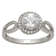 1 1/2 Tcw Tiara Round-cut White Sapphire Halo Ring in Sterling Silver - (6)