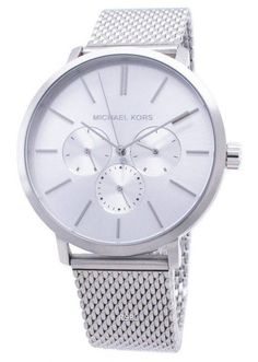 Features: Stainless Steel Case Stainless Steel Bracelet Quartz Movement Mineral Crystal Silver Dial Analog Display Chronograph Function Solid Case Back Deployment Clasp Water Resistance Approximate Case Diameter: Approximate Case Thickness: Black Stainless Steel, Stainless Steel Bracelet, White Watches For Men, Michael Kors, Quartz Watch, Chronograph, Silver, Display, Crystal