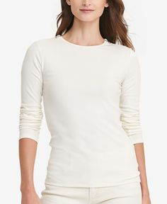 Lauren Jeans Co. Short-Sleeve Chambray-Trim Boat-Neck Striped Tee - Tops -  Women - Macy's | Styles I Like | Pinterest | Boat neck, Striped tee and  Chambray