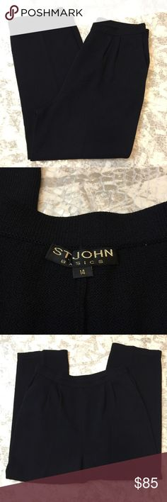 "St. John Women's knit Pants Size 16 black St. John Women's kit pants. Size 16. All Black.  Elastic waist. Waist inside is split. Pleated. Waist: 16"", hips: 23"", inseam:  26"", outseam: 40"", rise: 14"", all measurements are approximate. St. John Pants"