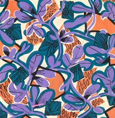 Floral Geometry    An exclusive reproduction of a Parisian textile design from Atelier Zina de Plagny, 1940s-1950s.