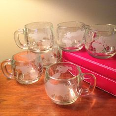 Set of six vintage Nestle Nescafe glass globe mugs by FromTheSeller on Etsy