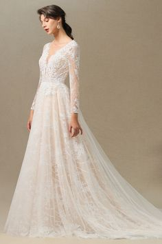 A Line Wedding Dress With Sleeves, V Neck Wedding Dress, Lace Dress With Sleeves, Backless Wedding, Bohemian Wedding Dresses, Long Wedding Dresses, Sleeved Wedding Dresses, Fall Wedding Gowns, Tulle Wedding