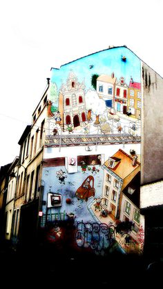 Brussels, Belgium: Mural on the wall
