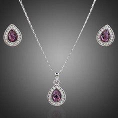 Big Pear Purple Jewelry Set  #necklace #fashion #rings #dresses #earrings #women #khaista #jewelry #womensfashion