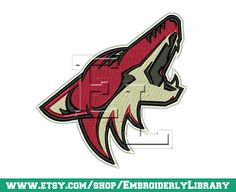 Hockey Embroidery Designs arizonas coyotes by EmbroiderlyLibrary