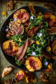 Pin for Later: 25 Times Prosciutto Proved It Is Better Than Bacon Grilled Peach Kale Salad With Crispy Prosciutto Get the recipe: grilled peach kale salad with crispy prosciutto