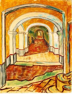 Page: Corridor in the asylum Artist: Vincent van Gogh Completion Date: 1889 Place of Creation: Saint-rémy-de-provence, France Style: Post-Impressionism Genre: interior Technique: oil Material: canvas Dimensions: 61 x 47.5 cm