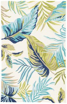 The Catalina collection offers a chic indoor or outdoor accent to patios or high-traffic living spaces. The Fraise design showcases blue and green palm fronds on a bright white backdrop for vibrant tropical style. This hooked polypropylene area rug boasts Tropical Area Rugs, Tropical Fabric, Tropical Prints, Tropical Design, Tropical Style, Tropical Pattern, Coastal Style, White Backdrop, Indoor Outdoor Area Rugs