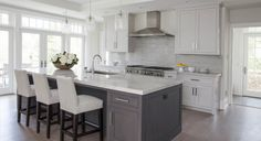 White upper cabinets and grey island. Clean and beautiful kitchen