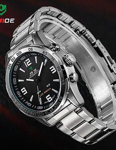 weide Herrenuhr Analog-Digital-LED-Display wasserdicht Edelstahlband Luxus-Sport-Armbanduhr , black-yellow - http://uhr.haus/yyf/weide-herrenuhr-analog-digital-led-display-luxus