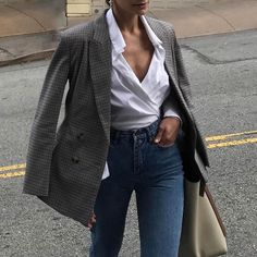 Really love the collared wrap top! Plaid blazer with jeans. Love.