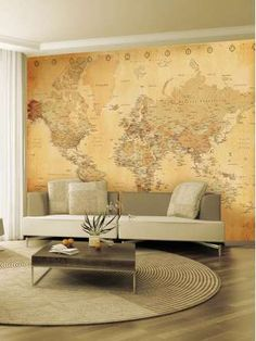 1Wall Old Map Giant Easy Hang Wall Mural