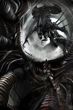 The Alien Queen - Art by Benjamin Carré I know they're supposed to be gross and scary, but I think H.R. Giger created beautiful aliens. Don't judge me.