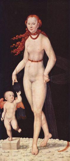 Lucas Cranach d. J.  Venus mit Cupido. Um 1540, Holz, 196 × 89 cm. München, Alte Pinakothek. Deutschland. Renaissance.  KO 02703