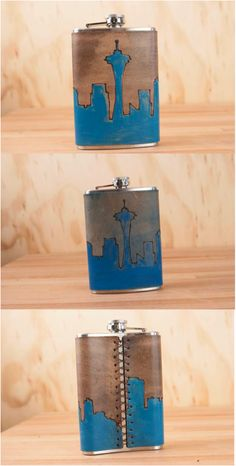 Handmade leather and stainless steel Skyline flask. 8-ounce stainless steel flask with a handmade leather cover.